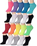Tipi Toe Women's 20 Pairs Colorful Patterned Low Cut / No Show Socks, (sock size9-11) Fits shoe size 6-12, WL01-AB