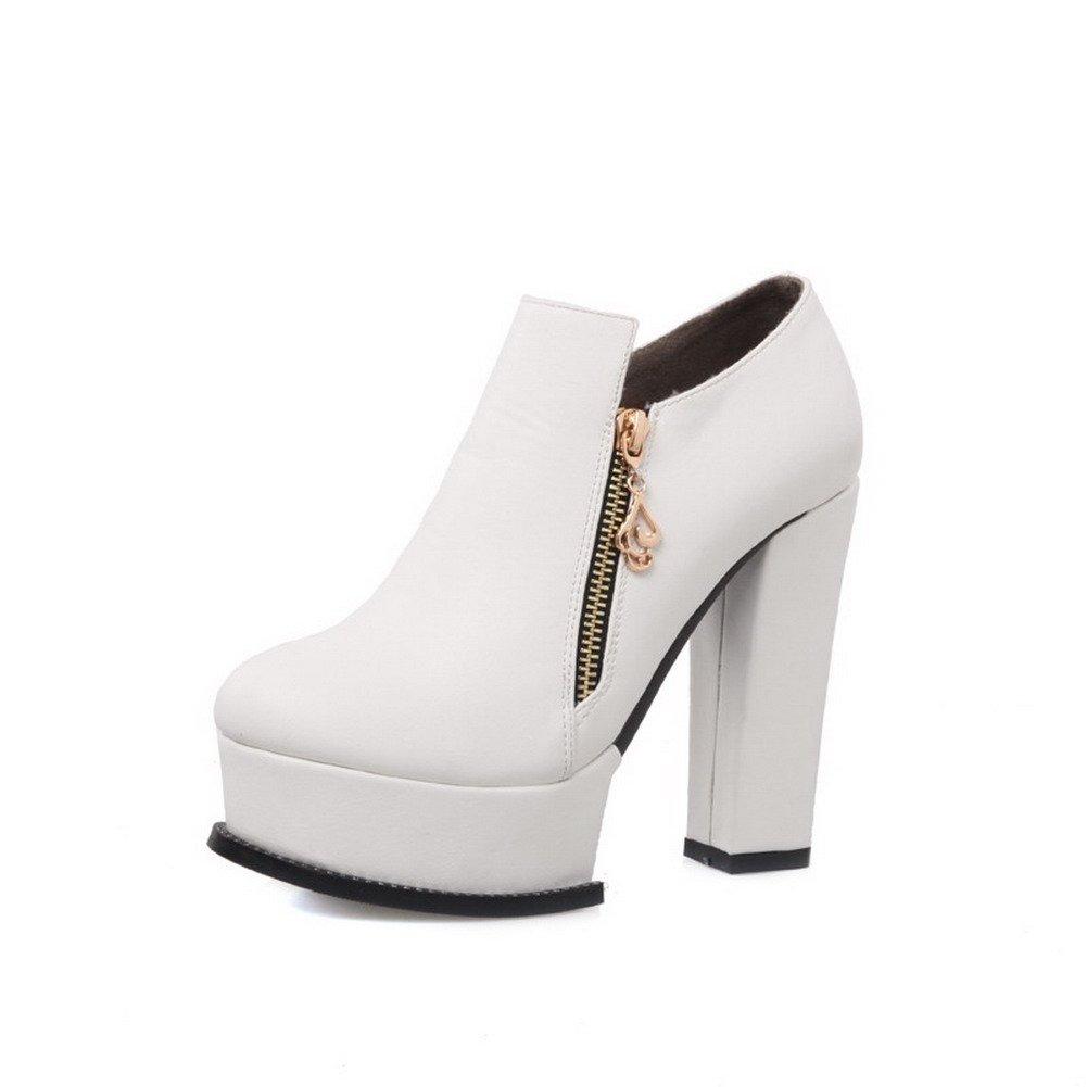 VogueZone009 Damen Blend-Materialien Reißverschluss Knöchel Hohe Hoher Absatz Stiefel Weiß