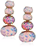 Kenneth Jay Lane Polished Gold 4 Part Pink Opal Clip-On Earring