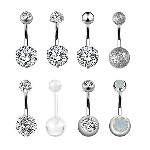 TOPBRIGHT 14G Surgical Steel Belly Button Ring Bar Navel Curved Barbell Body Piercing Jewelry for Women Crystal CZ Ball Screw Belly Rings (8PCS-White)