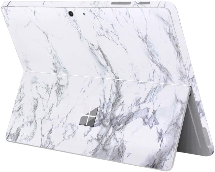 "MasiBloom Protective Decal Sticker for 10 inch Microsoft Surface Go 2 Tablet (2020 2018 Released) Anti Scratch Vinyl Laptop Cover Skin (for 10"" Surface Go, Decal- A Marble White)"