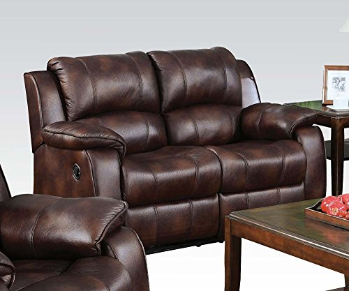 Benzara BM177822 Leather Upholstered Recliner Loveseat, Brown