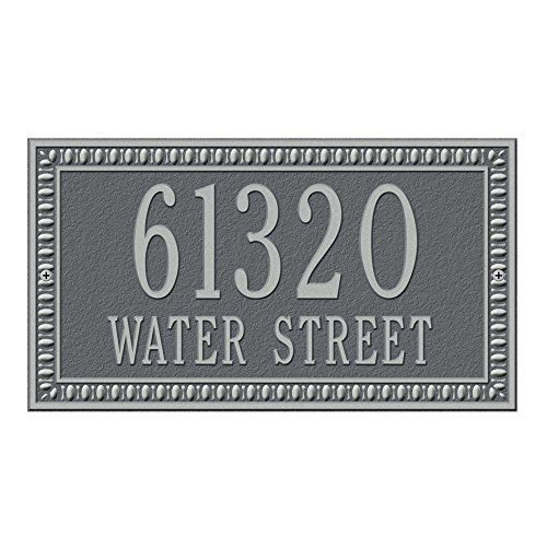 (Whitehall Products Egg and Dart Rectangular Pewter/Silver Standard Wall Two Line Address Plaque)