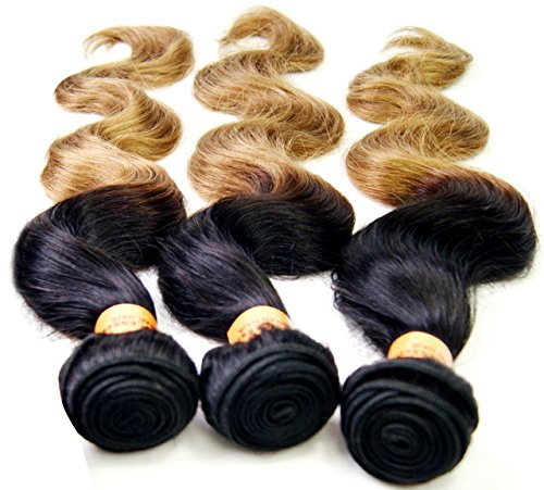 NuoYa005 NEW 3 Bundles 300g Black Ombre Gold 6A Remy Brazilian Hair Extension Human