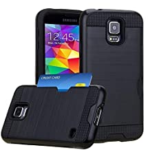 Jwest Samsung Galaxy S5 / S5 Neo Wallet Case with ID Card Slot Holder Rugged Rubber Impact Heavy Duty Shock Absorbent Armor Hybrid Defender Shock Proof Case Cover Skin for for Galaxy S5/S5 Neo - Black