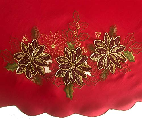 Newbridge Pristine Poinsettia Embroidered Applique Christmas Fabric Tablecloth, Luxury Holiday Xmas Scalloped Embroidery Tablecloth, 60 Inch x 84 Inch Oblong/Rectangle, Red