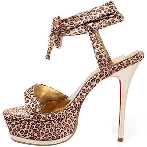 ENMAYER Womens Cloth Material Leopard Shoes Thin High Heels Party&Wedding Open Toe Pumps Yellow1 wlTYbQE