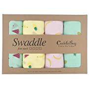 Muslin Swaddle Blankets by CuddleBug - 4 Pack Baby Blankets for Newborns - Swaddle Blanket, Swaddle Wrap, Muslin Swaddle and Receiving Blankets - Tutti Frutti, Colorful Fruits