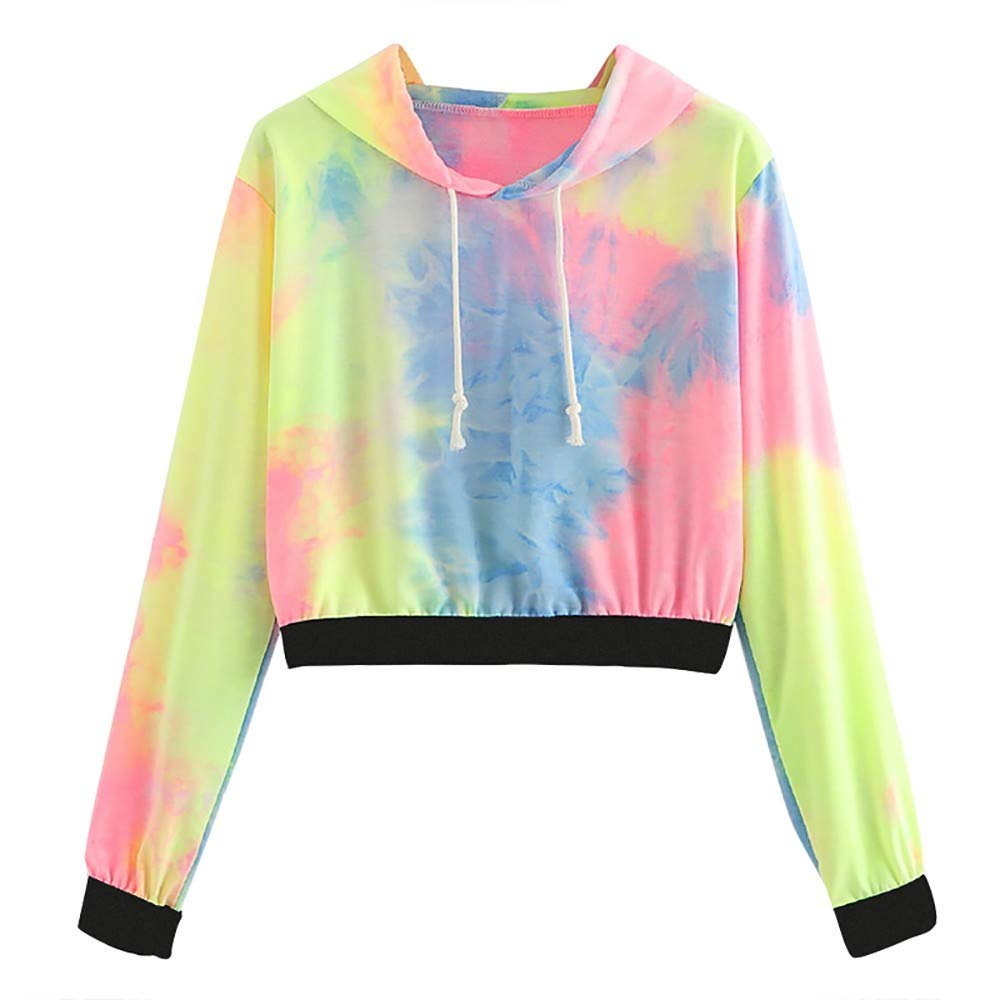 OCASHI Women's Drawstring Pullover Long Sleeve Tie Dye Print Casual Sweatshirt Crop Top Hoodies (L, Pink)