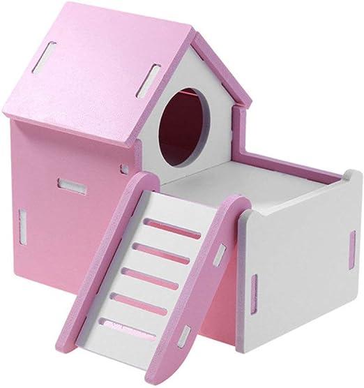 COMESU Juguete para Mascotas pequeñas Entretenimiento Juego Deportivo Casa Color Hamster Escalera de Juguete de Madera Ejercicio Escalera de hámster, Rosa: Amazon.es: Productos para mascotas