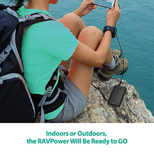 Solar Charger RAVPower 10000mAh Outdoor Battery Pack with iSmart 2.0 and Dual Input (Solar and Outlet), Shockproof Solar Power Bank with LED Flashlight for iPhone, Galaxy, Android, and More by RAVPower (Image #7)