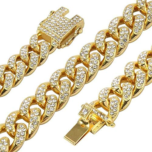 Mandy Hip Hop 12MM Cuban Chains 18K Gold Plated CZ Fully Iced-Out Link Miami Necklace (Gold, 30) from Mandy