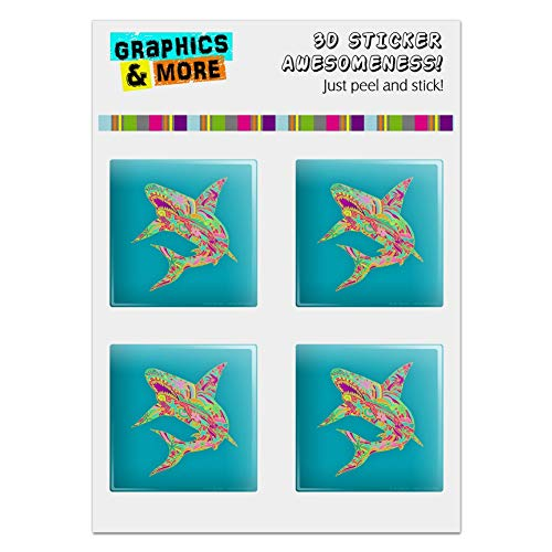 GRAPHICS & MORE Mosaic Lily Shark Tropical Island Surf Computer Case Modding Badge Emblem Resin-Topped 1