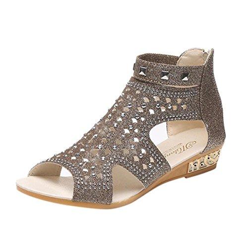 Sandalias Verano Chanclas Clip Cuentas Hueco Casuales Playa de con Roma de Dulce Cu Zapatos Toe de a de Damas A Sandalias de Mujer Pescado Boca Zapatos Oro qwXTTyBv