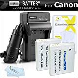 2 Pack of Replacement NB-6L Batteries + Charger For Canon Powershot SX500 IS, D30, SX510 HS SX520 HS SX170 IS, S120, SX600 HS, SX700 HS, SX610 HS, SX710 HS, SX530 HS, SX540 HS Camera + More
