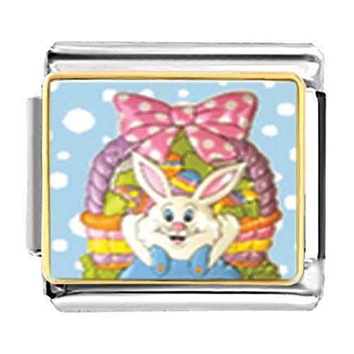 GiftJewelryShop Gold Plated Easter Basket Bunny Bracelet Link Photo Italian Charms