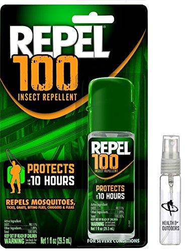 Repel NEW 100 Insect Repellent - 1 oz. Pump Spray Bottle and EXCLUSIVE! HealthandOutdoors Refillable Skeeter Spritz - 100 Deet Insect Repellent