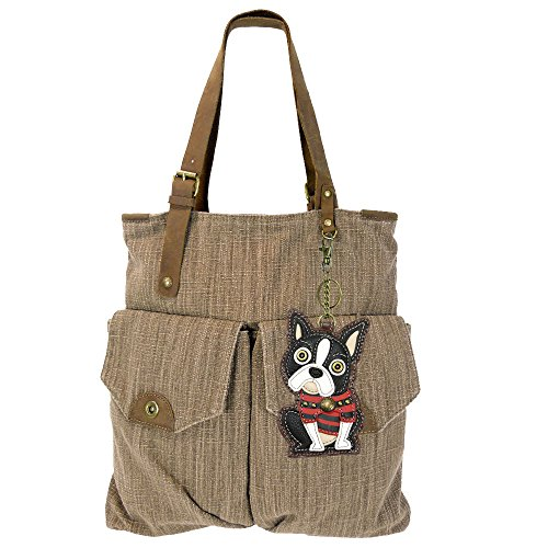 - Chala Canvas Tote Shoulder Handbags with Chala Purse Charm/Coin Purse-Light Brown (907) (Boston Terrier)
