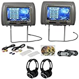 Rockville RVD951-GR 9 Grey Dual DVD/HDMI Car Headrest Monitors+2 Headphones