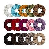 #10: Jaciya 15 Pack Suede Scrunchies Stretch Scrunchies Ponytail Holder Hair Ring Hair Ties, 15 Colors