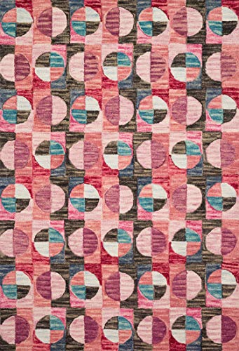 Justina Blakeney HALUHAL-06BYCC2676 Hallu Area Rug, Berry/Charcoal