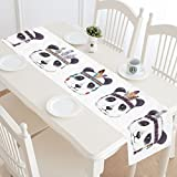 InterestPrint Bohemian Pandas with Feathers Boho Cute Animal Table Runner Cotton Linen Home Decor for Wedding Party Banquet Decoration 16 x 72 Inches
