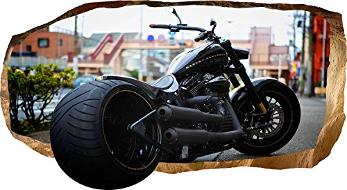 Mural Wall Art Startonight 3D Photo Decor Harley Davidson Amazing Dual View Surprise Medium 32.28 inch By 59.06 inch Wall Mural Wall Paper for Living or Bedroom Room America Collection Wall Art