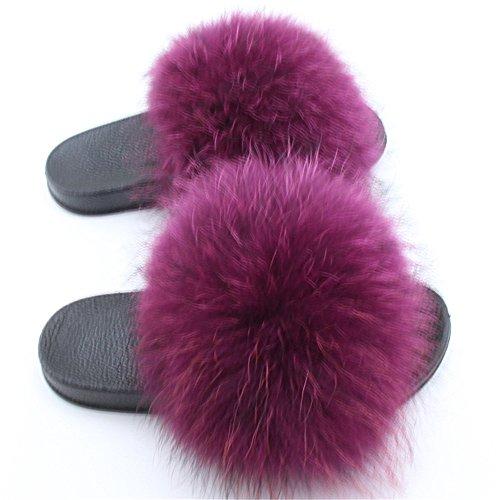 Real dark Purple Open Fur Slippers Slide Women's Black Raccon qmfur Toe tUwzxfWAaq