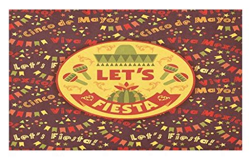 Lunarable Cinco De Mayo Doormat, Colorful Celebration Theme Background with Let's Fiesta Viva Mexico Quote, Decorative Polyester Floor Mat with Non-Skid Backing, 30 W X 18 L Inches, Multicolor]()