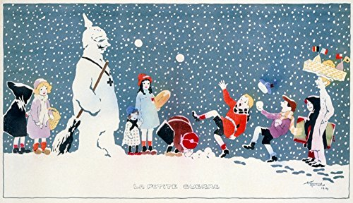 Wwi Snowball Fight NLa Petite Guerre Children Throwing Snowballs At A Snowman Dressed As Kaiser Wilhelm Ii Lithograph By ?douard Bernard 1914 Poster Print by (24 x ()