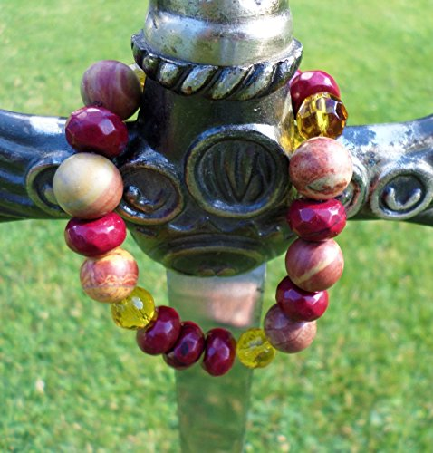 'Berry Beautiful' Faceted Roundelle-Shaped Zebra Jaspers, Picasso Jaspers and Faceted Citrine Gemstones Beaded Women Bracelet Stretch. Individualist and Gorgeous. Wrist Size 7.5