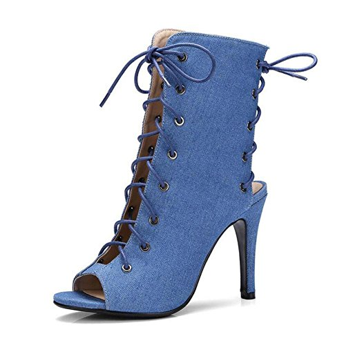 Pump Peep Slingback Sandals denim blue Charming Toe Super Cross Strap 40 Heel High Boots 43 Size Women Large Hollow wEq6dE