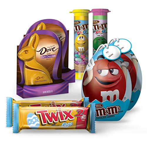 Easter Bundle Candy (8 pack) M&M's Minis Tubes, Dove Dark Chocolate, Twix Egg 2 To Go, M&M's Fun Size Eggs Tin, 2 of EA ()