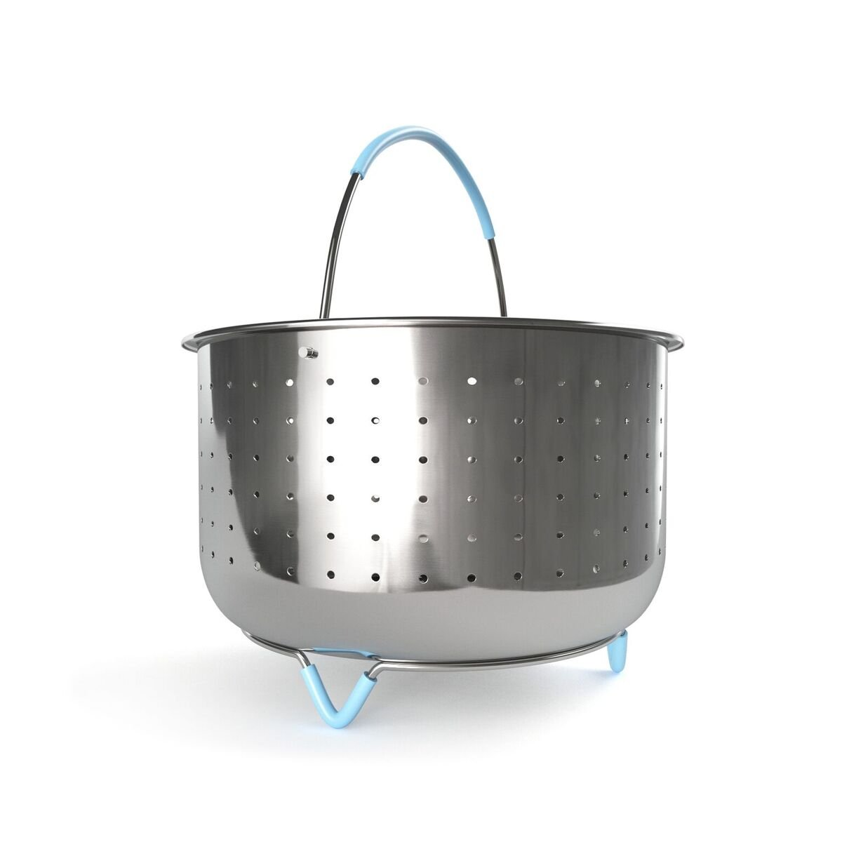 Instant Pot Steamer Basket Accessories- For 6qt Pressure Cooker Instapot Insta pot. Food Grade 304 Stainless Steel Blue Silicone Handle and Legs Great for Steaming Vegetables, Meat, Eggs, Clams, etc.