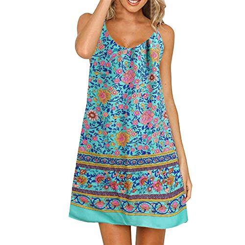 LIM&Shop Women Summer Cami Dress Top Spaghetti Strap Mini Dress Tank Casual Floral Print Ruffles Hem Swing Skirt A-line Blue