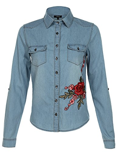 Crinkle Three Quarter Sleeve Shirt (Slim Fit Lavish Floral Rose Embroidered Denim Button Down Shirt Tops)