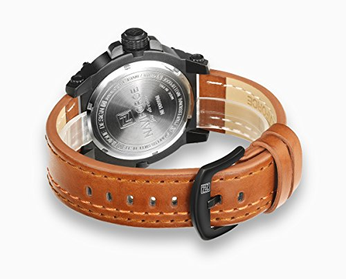 Amazon.com: NX 9099 Men Sports Quartz Leather Calendar and Week Showed 30m Waterproof Wrist Watches (Dark Brown): Watches