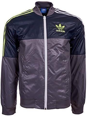 Adidas Men's 90S Nylon Jacket Grey White Yellow SMALL
