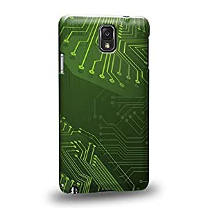 Case88 Premium Designs Art Printed Green 3D Standard Circuit Board Protective Snap-on Hard Back Case Cover for Samsung Galaxy Note 3