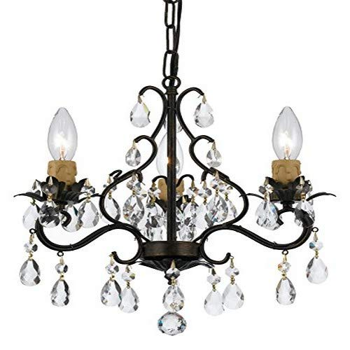 Crystorama 4534-EB Crystal Three Light Mini Chandelier from Paris Market collection in Bronze/Darkfinish,
