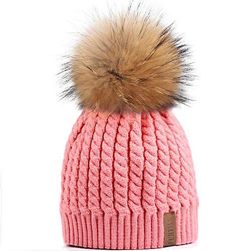 - Winter Beanie Hats for Women FURTALK Womens Warm Knit Fur Bobble Pom Pom Hat