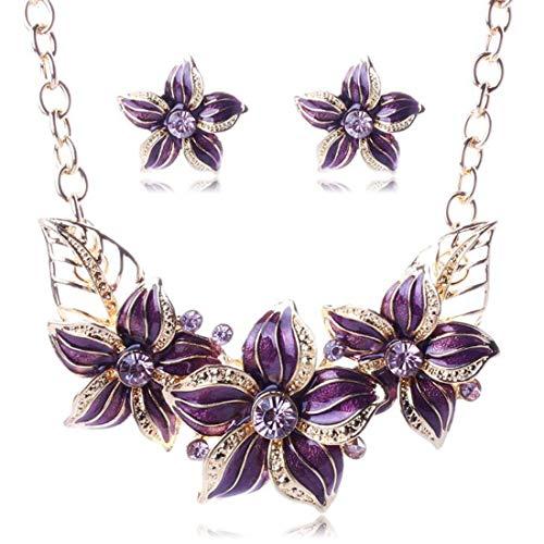 GBEW6U Austrian Crystal Enamel Flower Jewelry Sets Women African Costume Jewelry Maxi Necklace Earring Set,Purple -