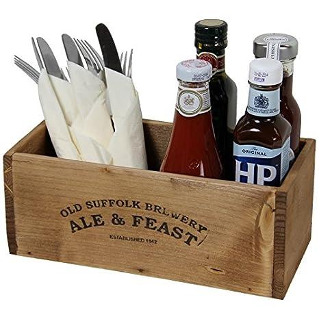 Rústico de madera caja de condimentos para, salsas, cubertería: Amazon.es: Hogar