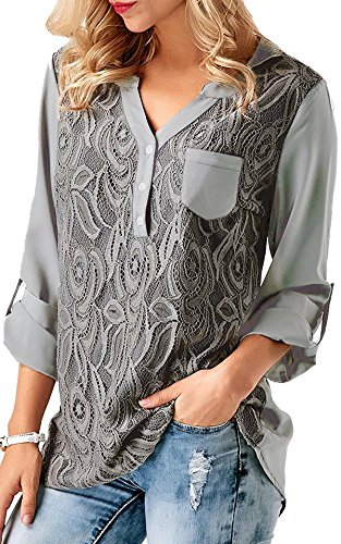 Flying Rabbit Women's Casual Loose Solid Cuffed Sleeve T Shirt Lace Panel Blouses Tops Back Pleated Shirts(Grey,L)