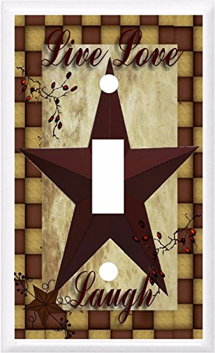 PRIMITIVE BARN STAR LIVE LOVE LAUGH LIGHT SWITCH COVER PLATE OR OUTLET (1x Toggle)