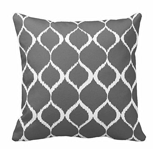 Charcoal Gray Geometric Ikat Tribal Print Pattern Throw Pillowcase 18*18