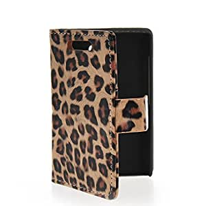 Mayawell Credit Card Slot Holder Leopard Skin Stand Movie Wallet Side Flip Leather Pouch Cellphone Case Cover for Nokia Asha 502 Brown