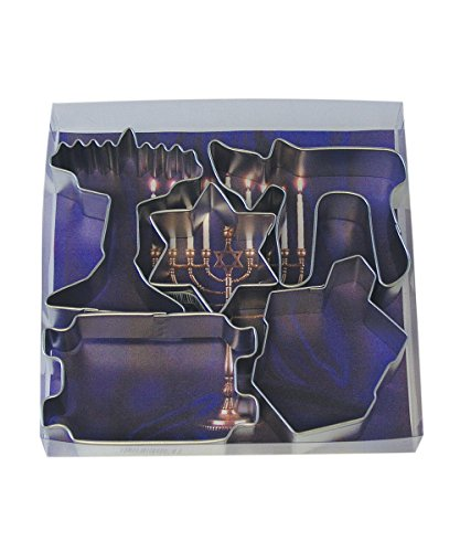 R&M International 1948 Jewish Holiday Cookie Cutters, Menorah, Torah, Chai, Dreidel, Star, 5-Piece Set (Hanukkah Cookie Cutters)