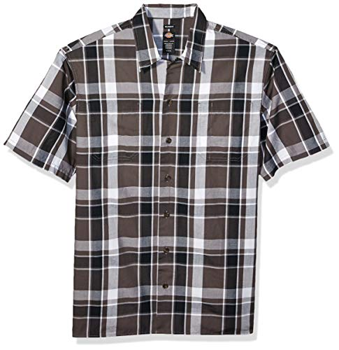 dickies Men's Yarn Dyed Short Sleeve Camp Shirt, Black Charcoal Plaid, L