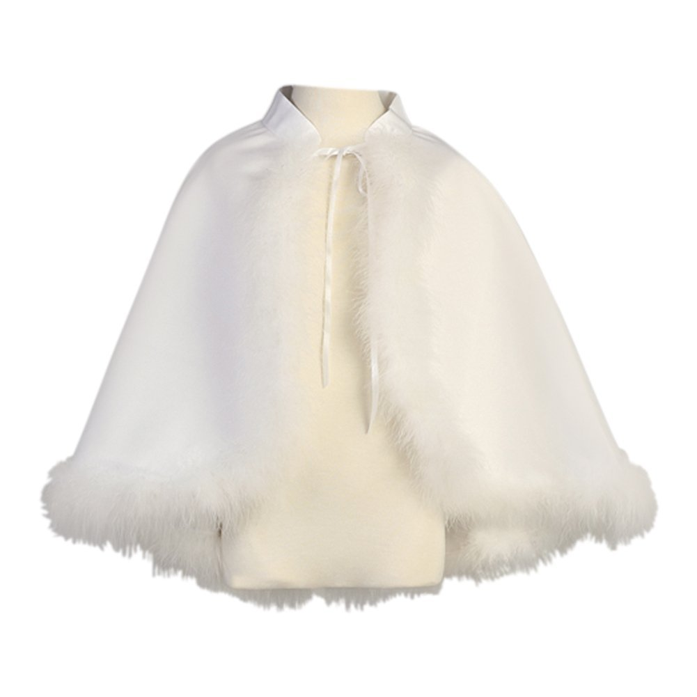 Lito Little Girls White Satin Marabou Special Occasion Cape 5-6X